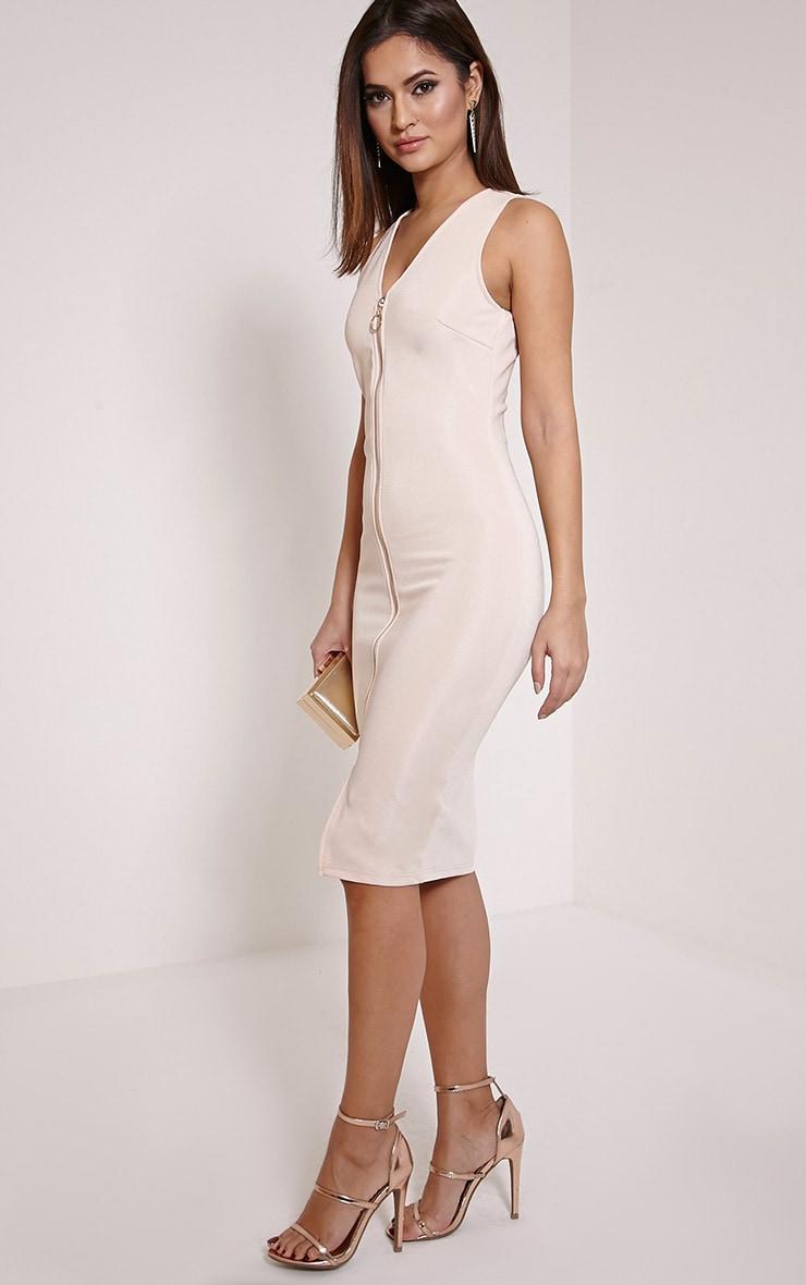 Edie Nude Zip Front Midi Dress 4