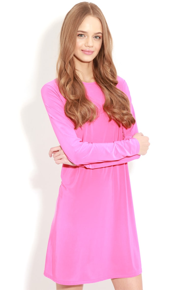 Ellen Fuchsia Long Sleeved Swing Dress  1