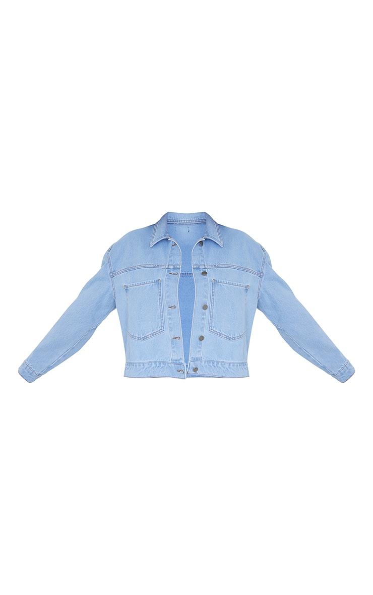 Light Blue Wash Pocket Detail Oversized Denim Crop Jacket 5