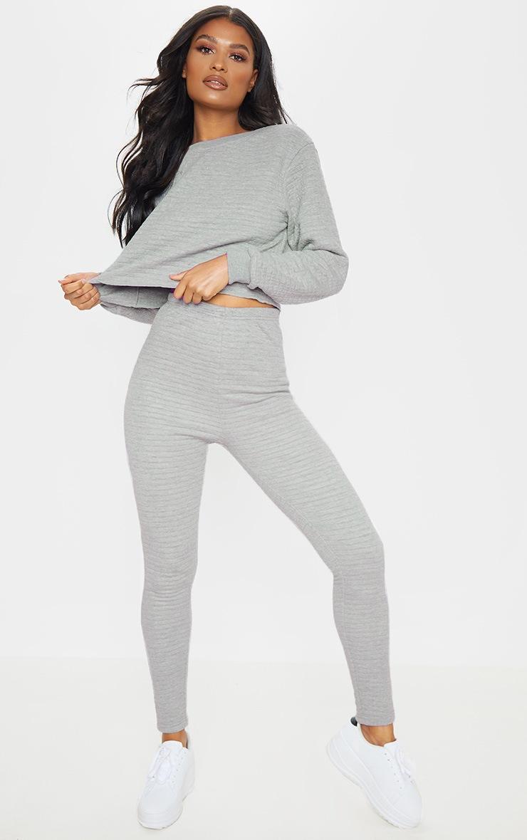 Legging gris matelassé à taille haute 1