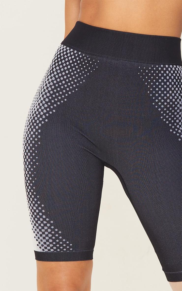 Black Contour Dot Seamless Bike Shorts 5