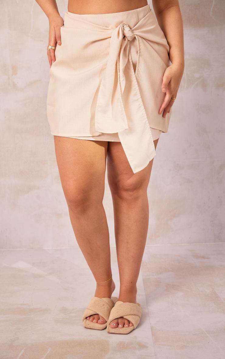 Plus Cream Woven Tie Front Bodycon Skirt 2