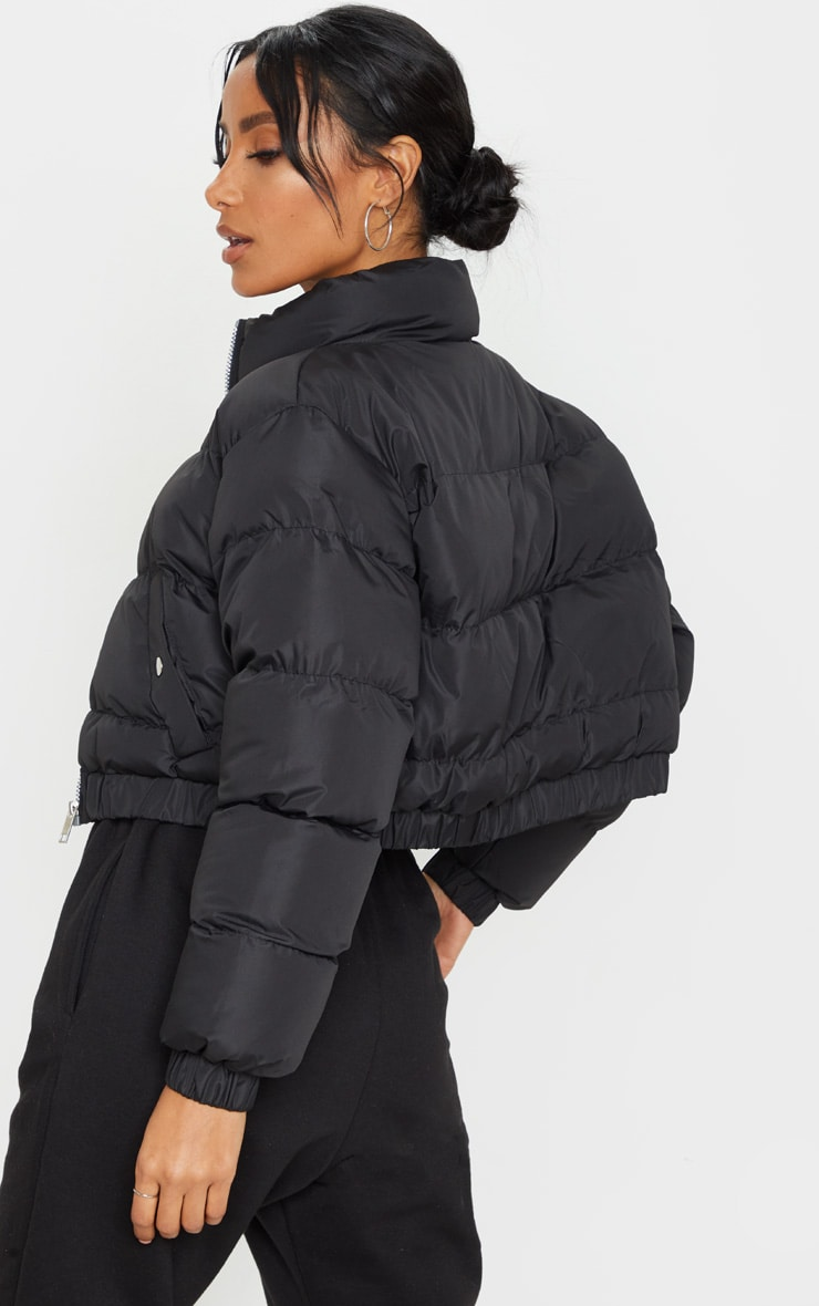 Black Cropped Bubble Button Down Puffer Jacket 2