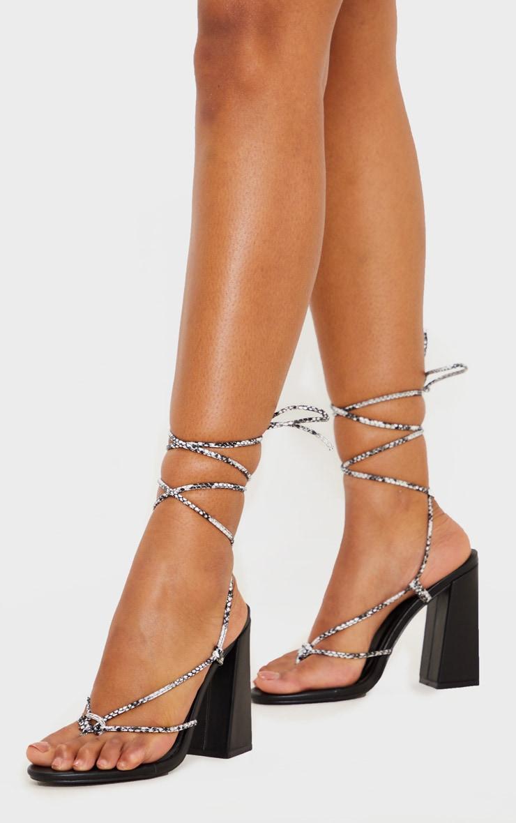 Black Snake Knot Toe Thong Strappy Block Heel Sandal 2