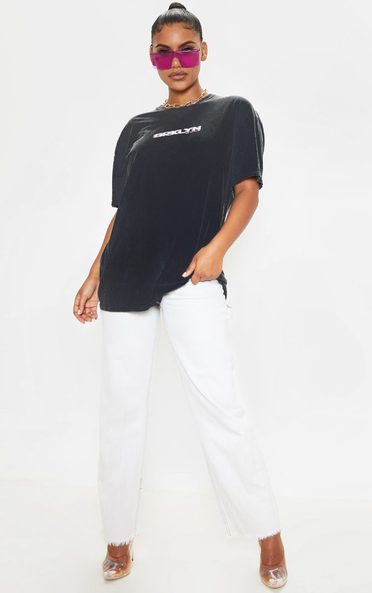T-shirt oversize gris à slogan imprimé NYC 5