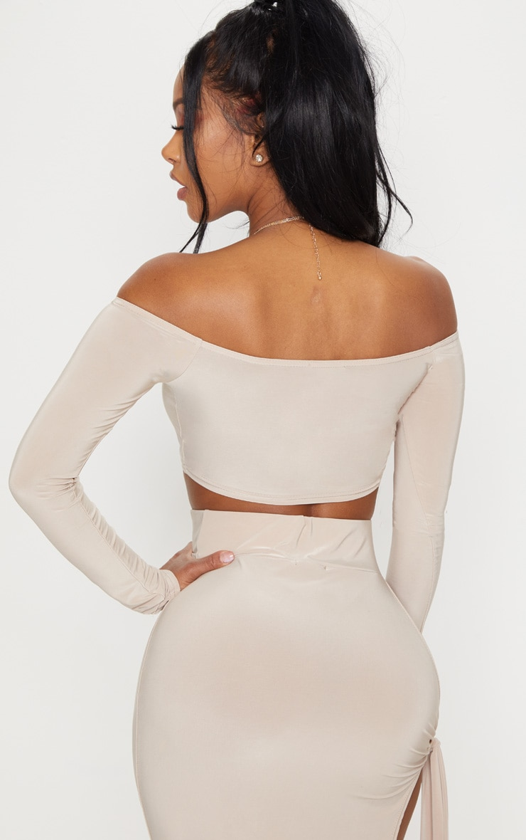 Shape Stone Slinky Bardot  Long Sleeve Crop Top 2