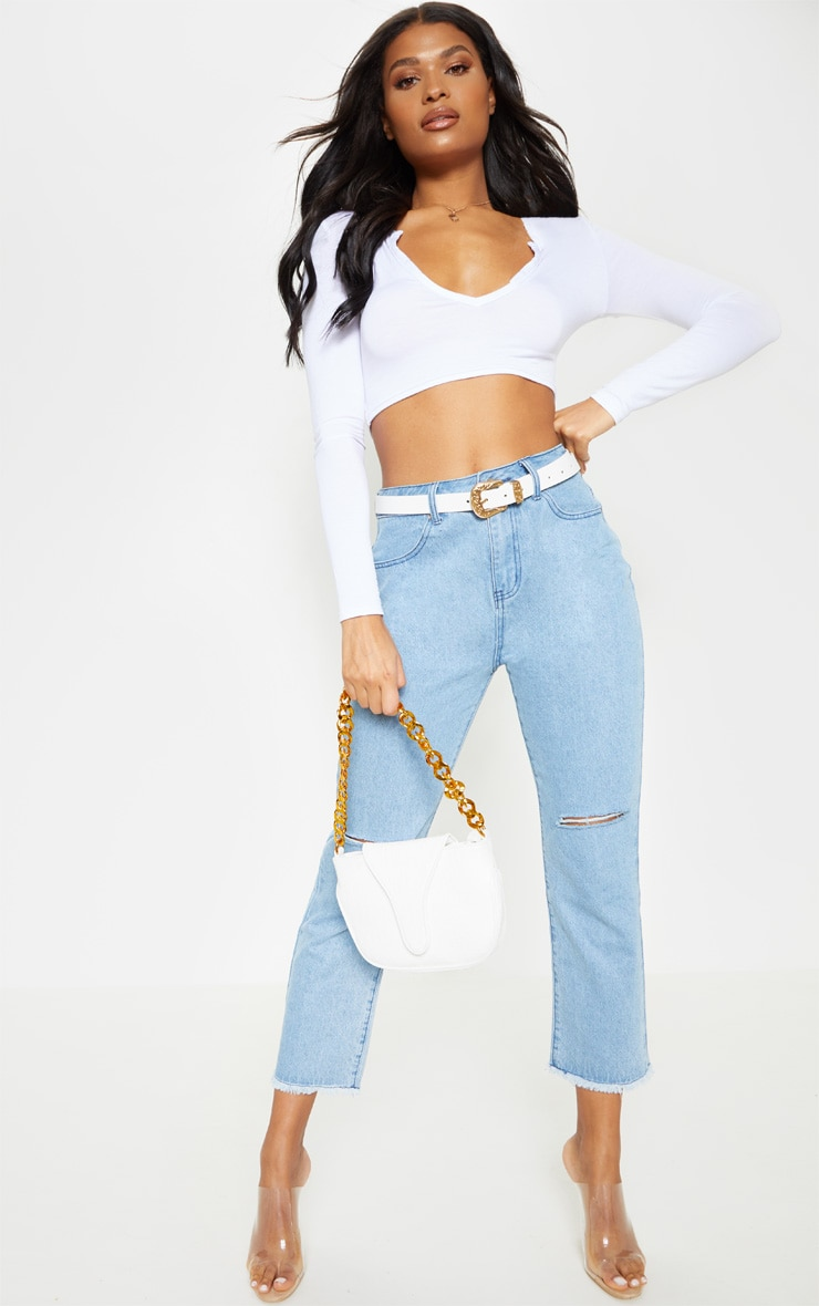 White Jersey Plunge Long Sleeve Crop Top 4