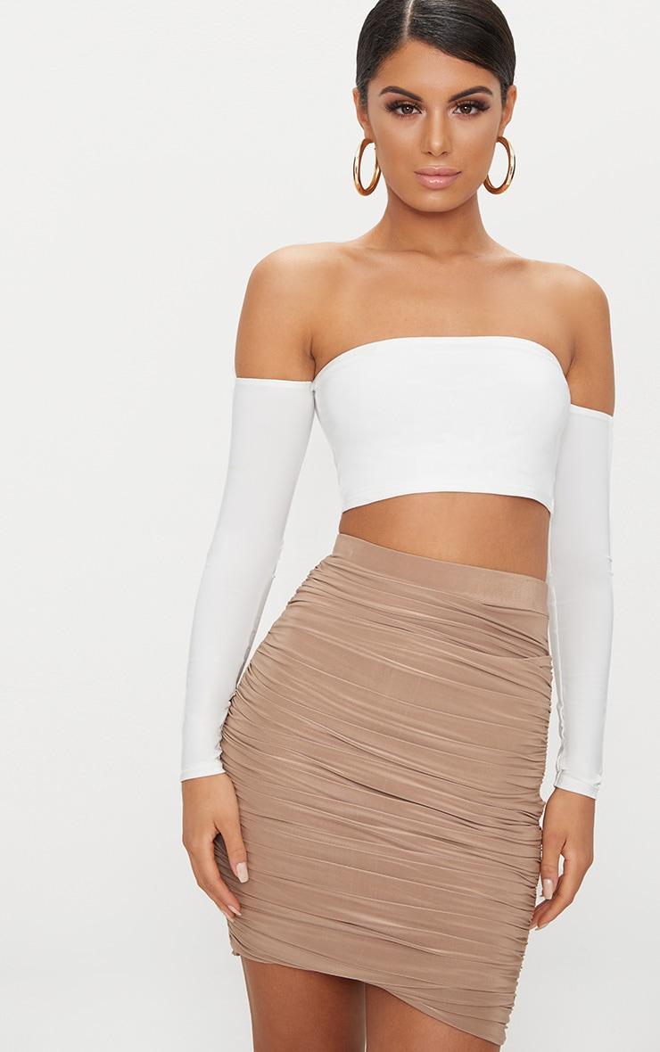 White Slinky Bardot Long Sleeve Crop Top 2