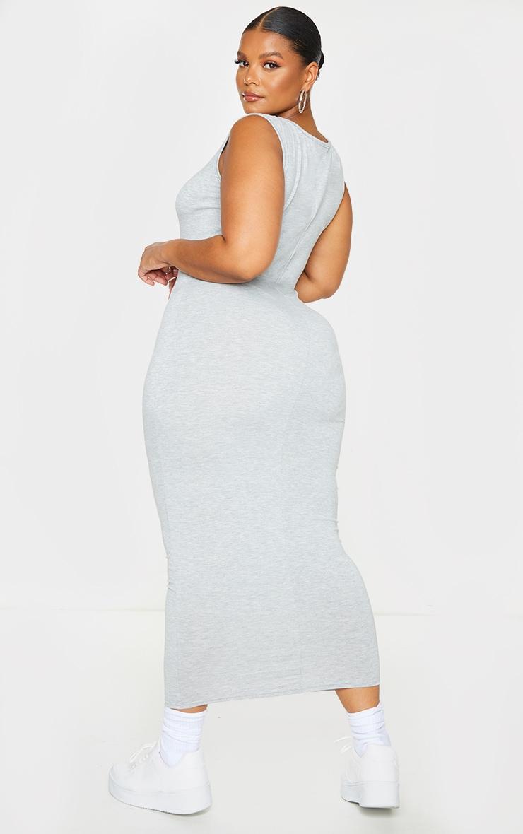 Basic Plus Grey Marl Cotton Blend Jersey Scoop Neck Midaxi Dress 2
