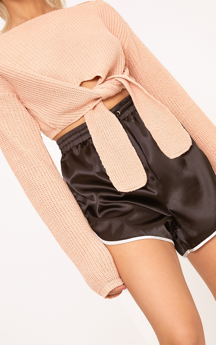 Bess Blush Front Tie Detail Mini Cropped Jumper 5