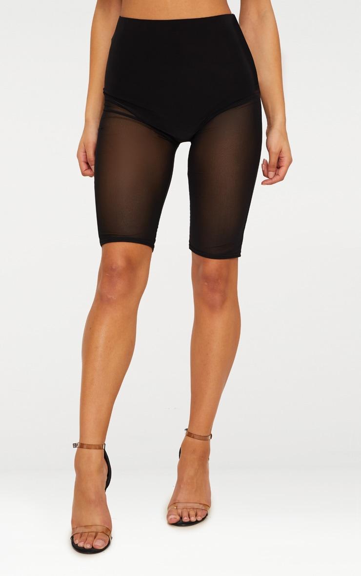 Black Mesh Leg Short  2