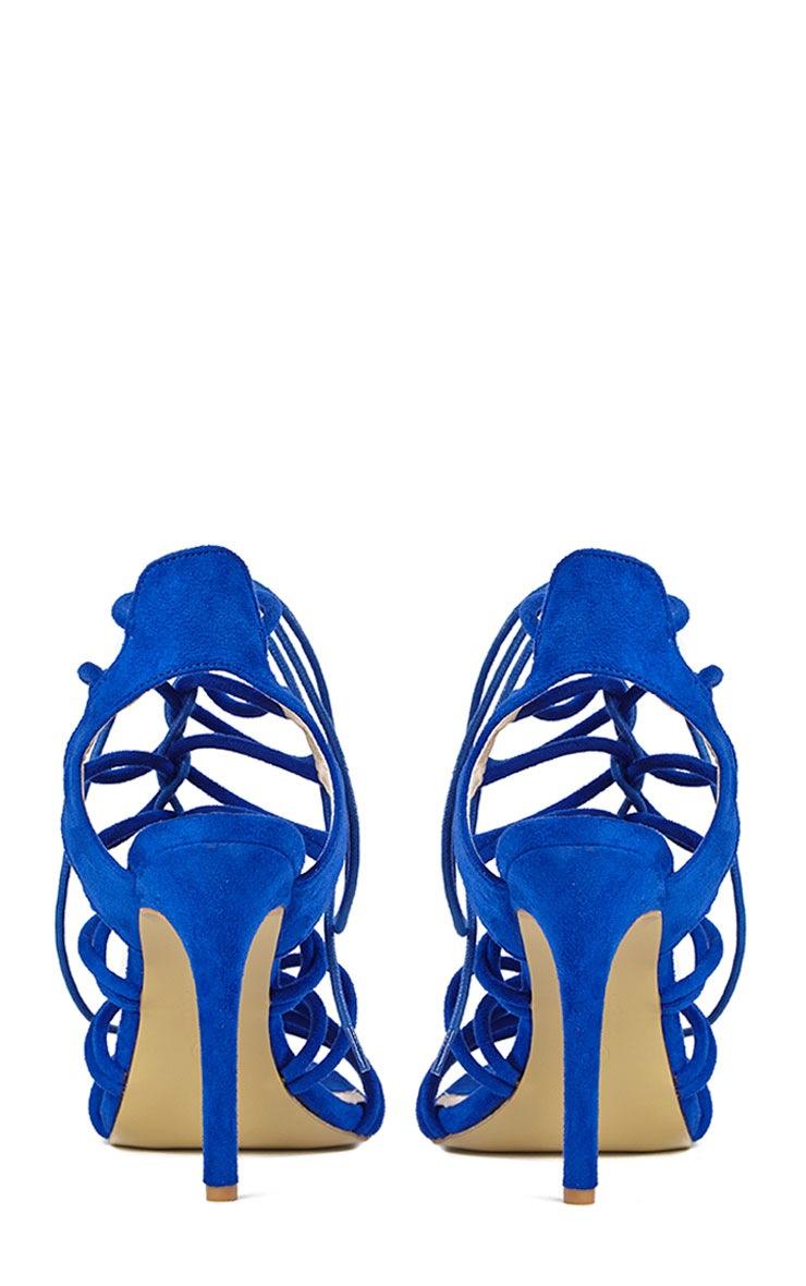 Lenore Blue Multi Strap Heels 7