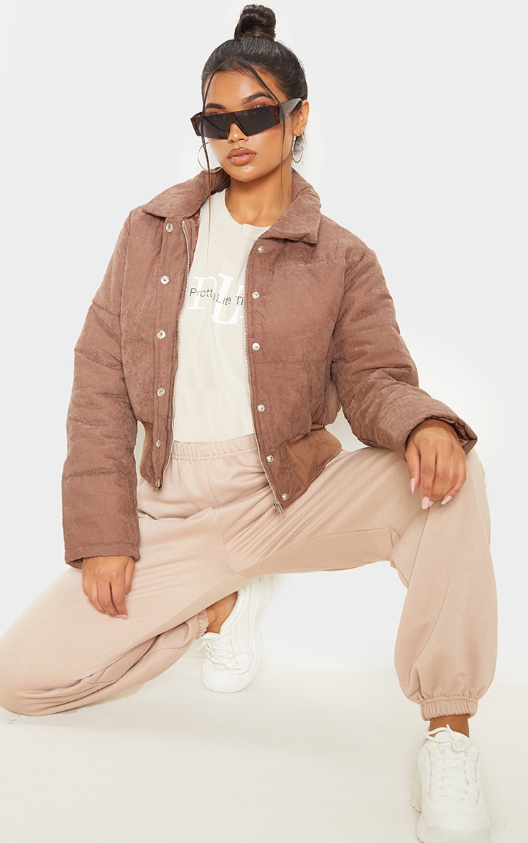 Chocolate Peach Skin Puffer Jacket 4