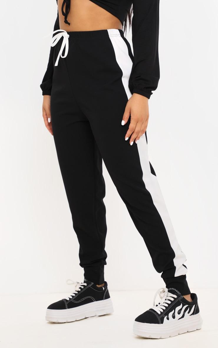 Petite Black Side Stripe Detail Jogger 2