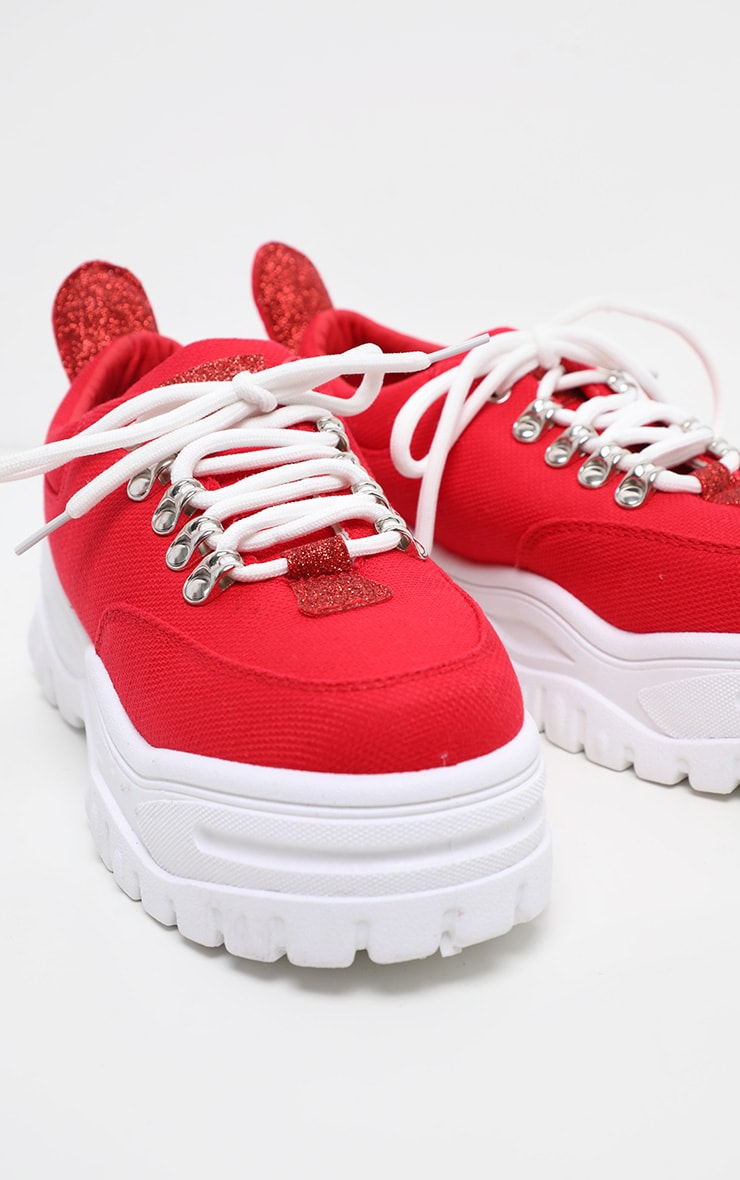 Red Flatform Chunky Hiker Trainer 3
