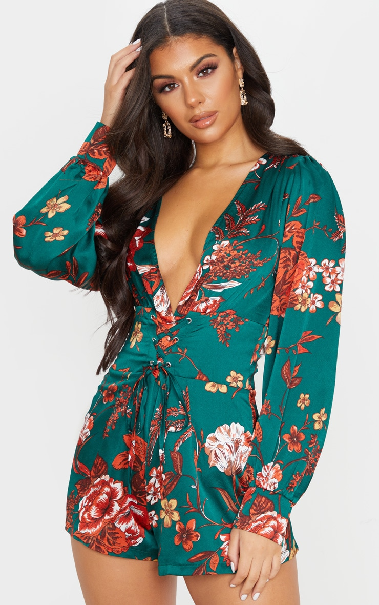 Emerald Green Floral Print Lace Up Long Sleeve Playsuit 1