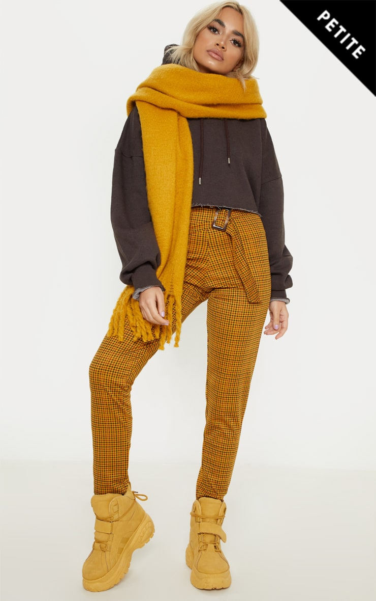 Petite Mustard Checked Rectangle Tortoise Belt Trousers 1