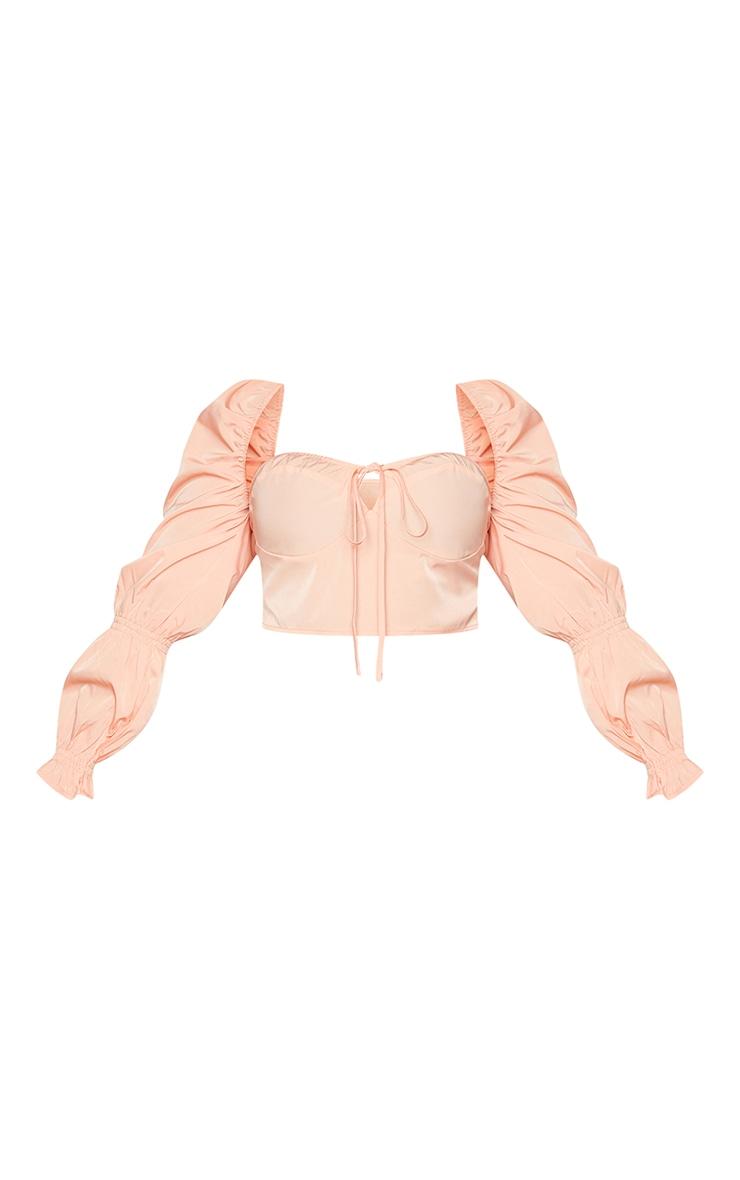 Plus Peach Puff Sleeve Bardot Crop Top 5
