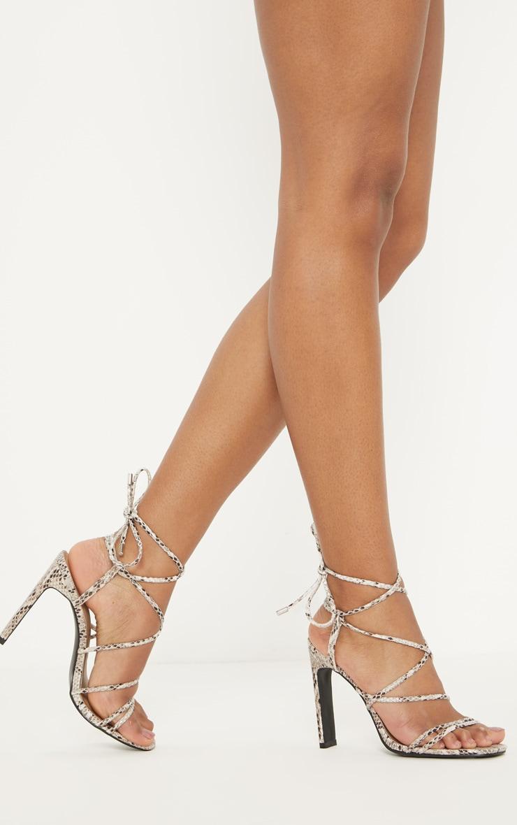 Snake Flat Heel Square Toe Strappy Sandal