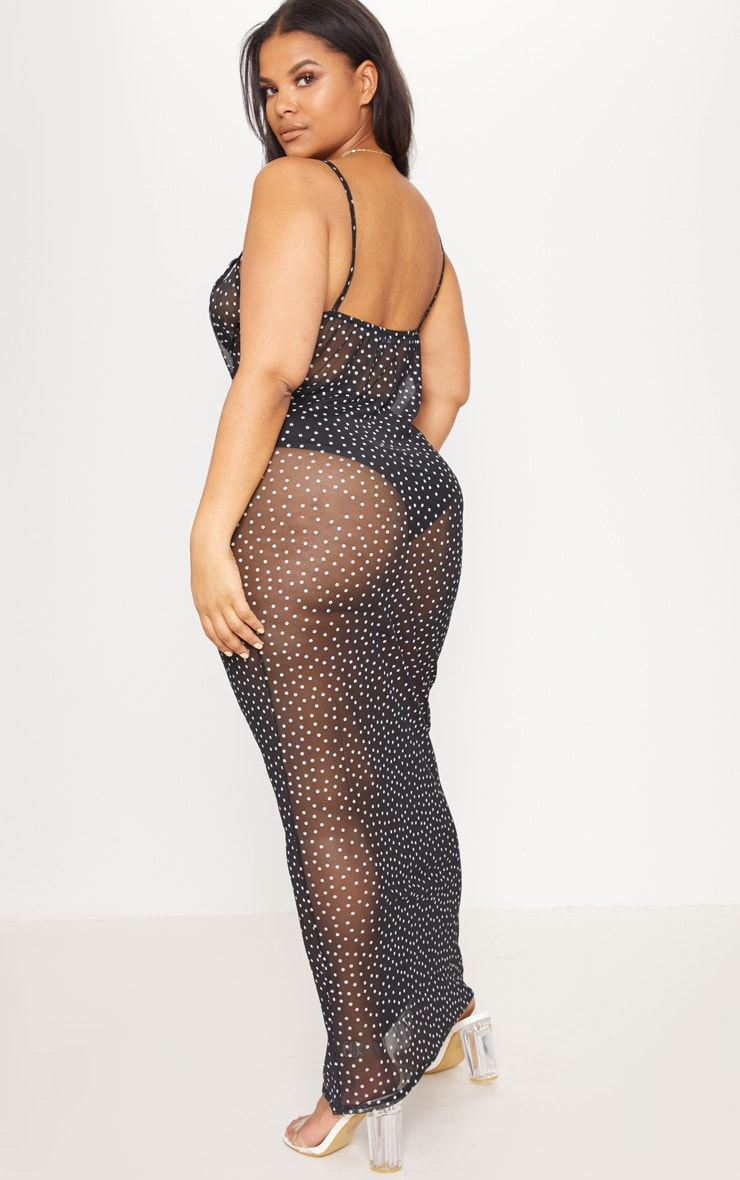 Plus Black Mesh Polka Dot Midaxi Dress 2