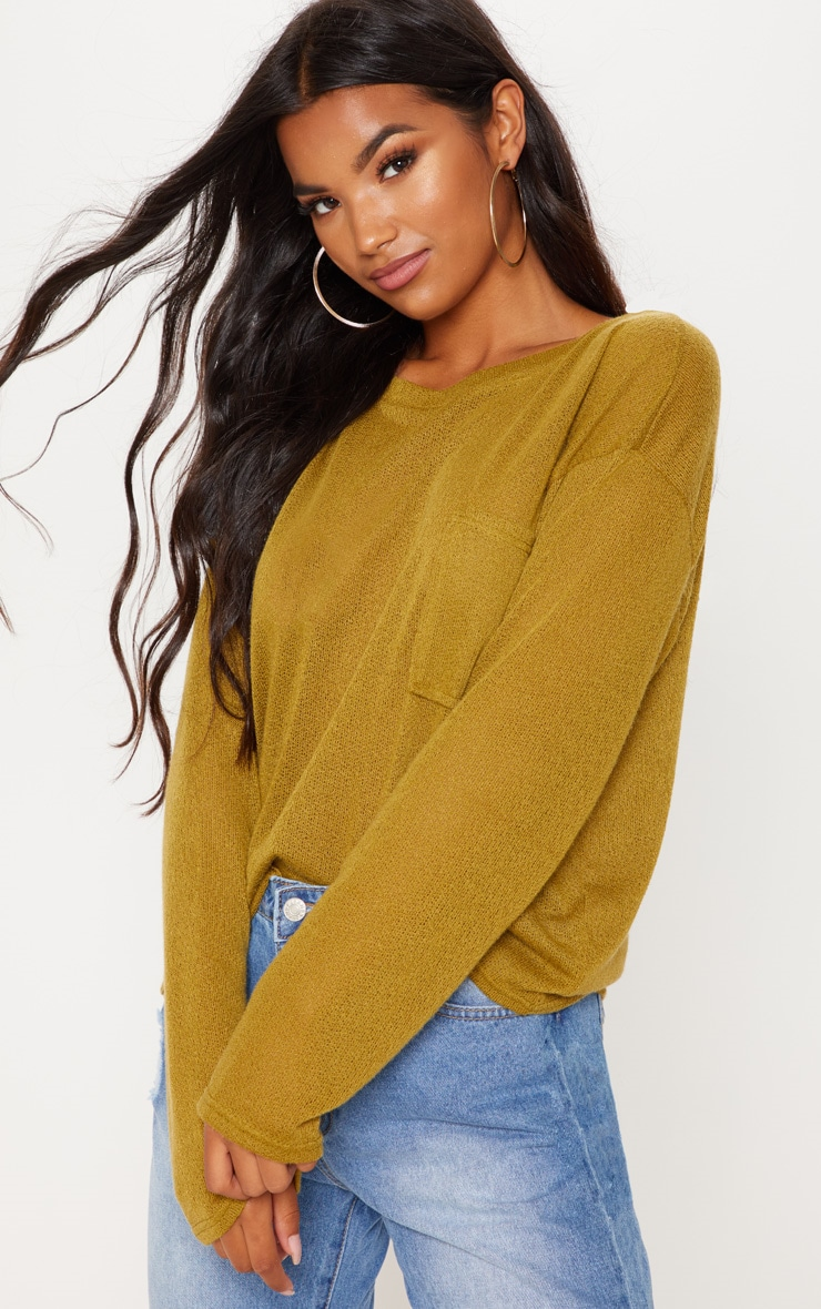 Olive Green Lightweight Knit Long Sleeve Top 4