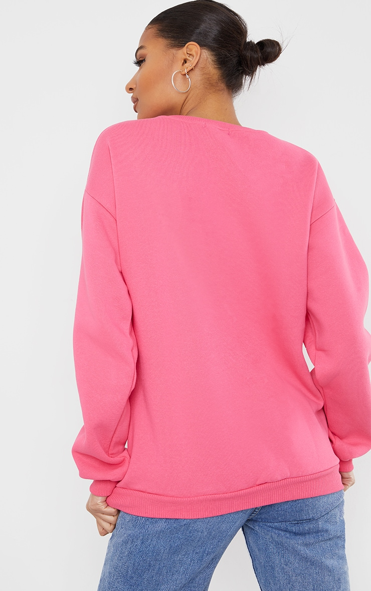 Hot Pink J'Adore You Slogan Embroidered Sweatshirt 2