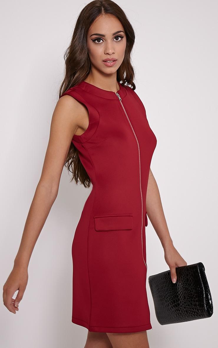 Simone Burgundy Zip Front Shift Dress 1