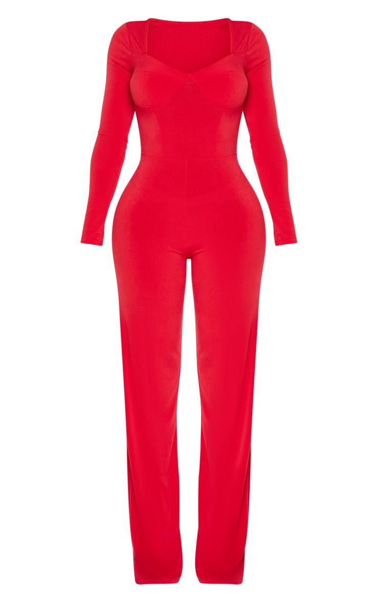 Shape - Combinaison rouge slinky à jambes évasées et armatures 3