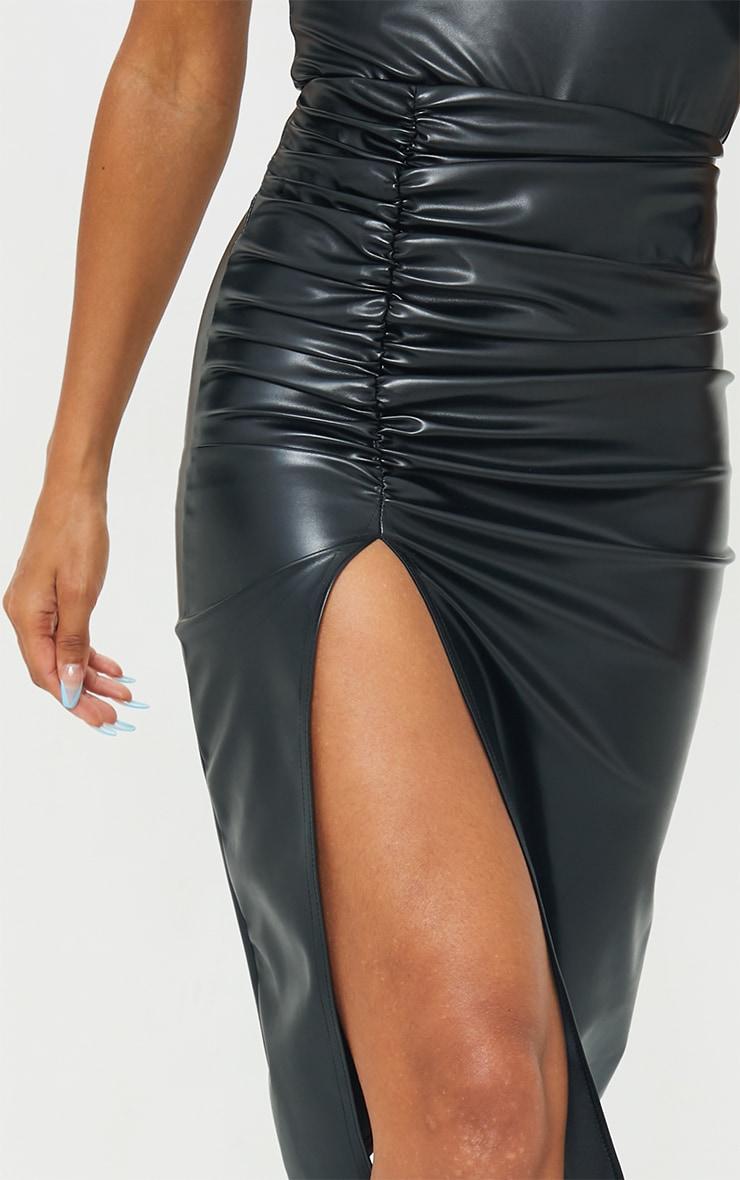 Black PU Ruched Split Leg Midi Skirt 4