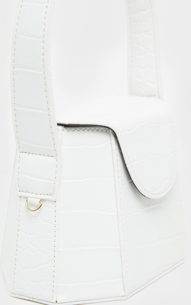 White Croc Angular Structure Cross Body Bag 4