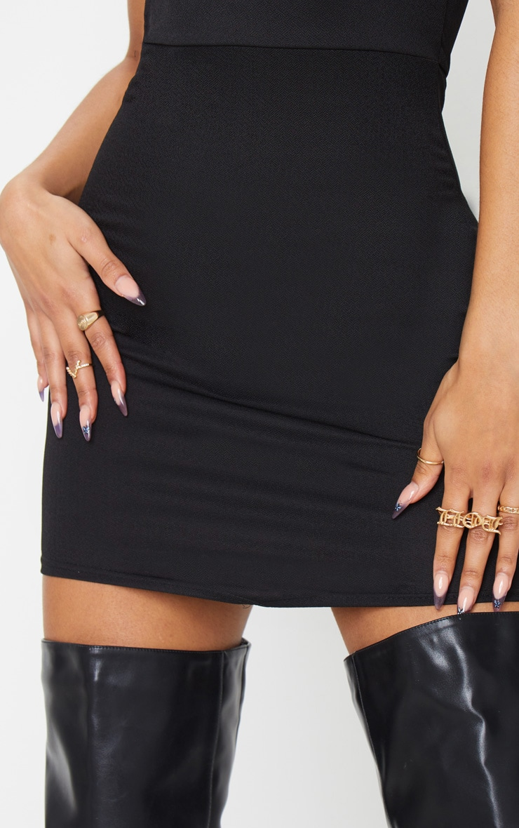 Black Bandeau Pointy Hem Bodycon Dress 4