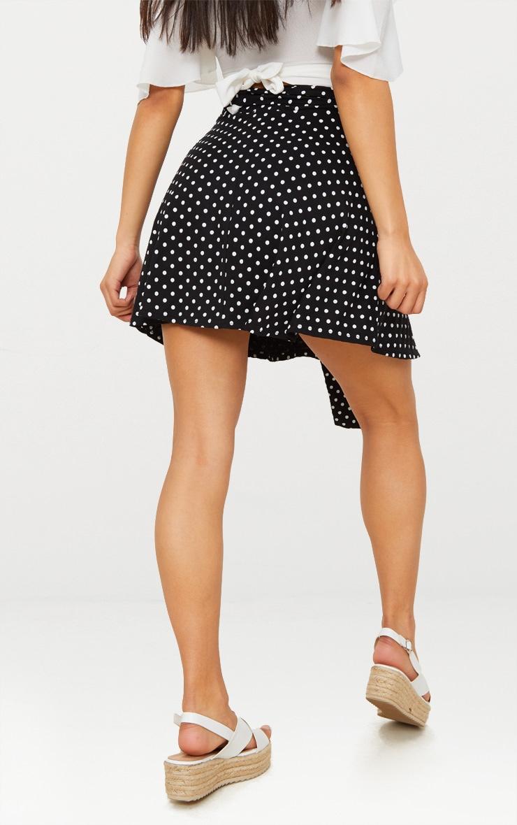 Black Jersey Polkadot Tie Waist Skirt 4