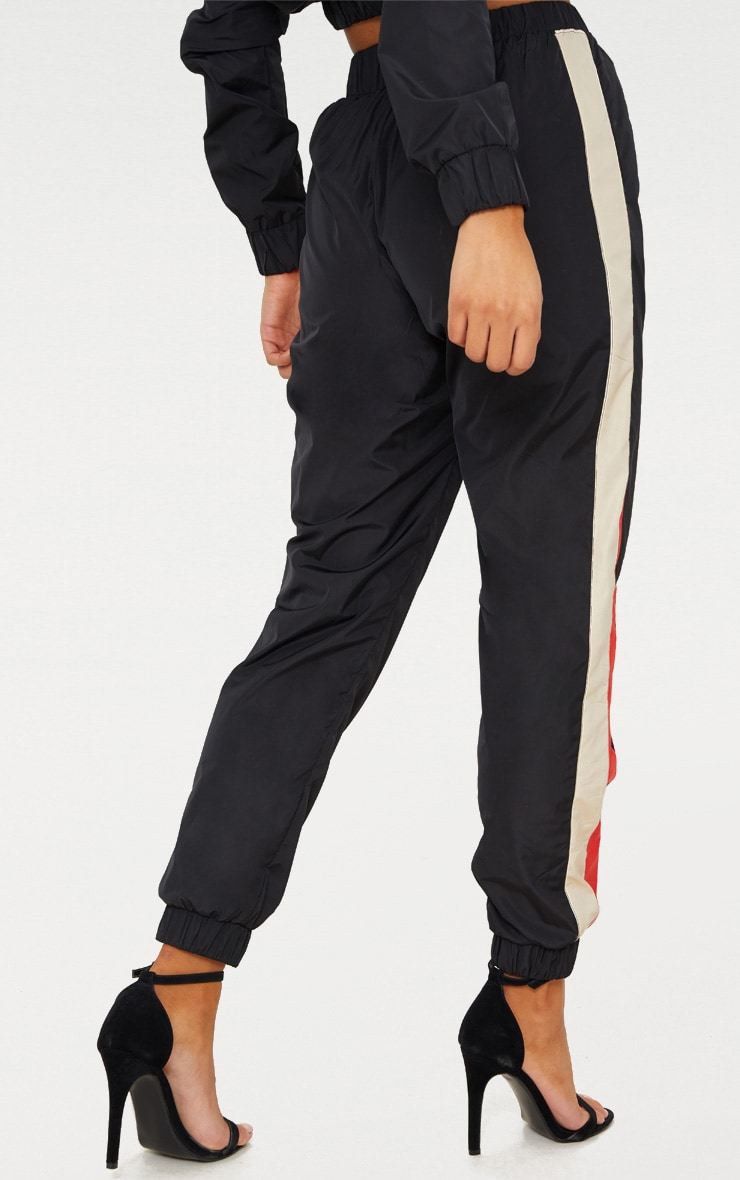 Black Stripe Shell Tracksuit Track Pants 4