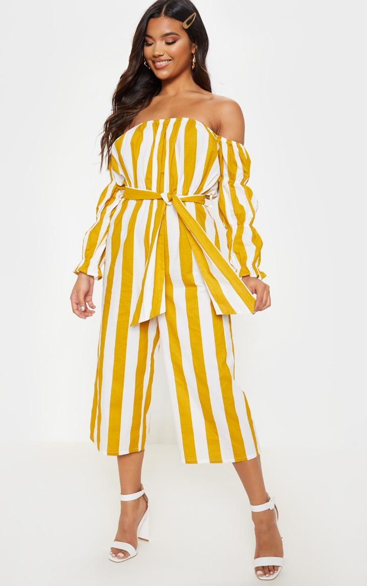 Mustard Large Stripe Print Bardot Tie Waist Jumpsuit 1