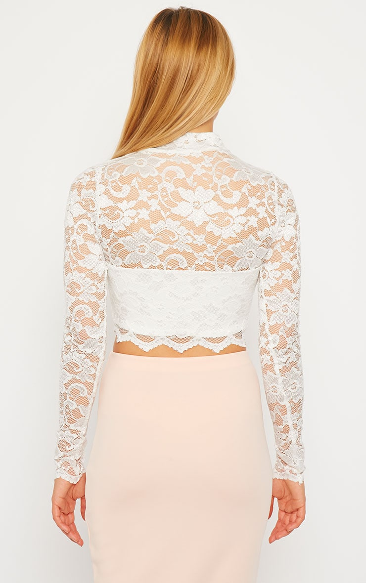 Rachel Cream Lace Turtle Neck Crop Top 2