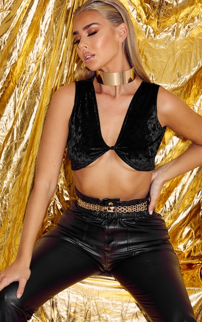 Black Velvet Sleeveless Knot Front Crop Top