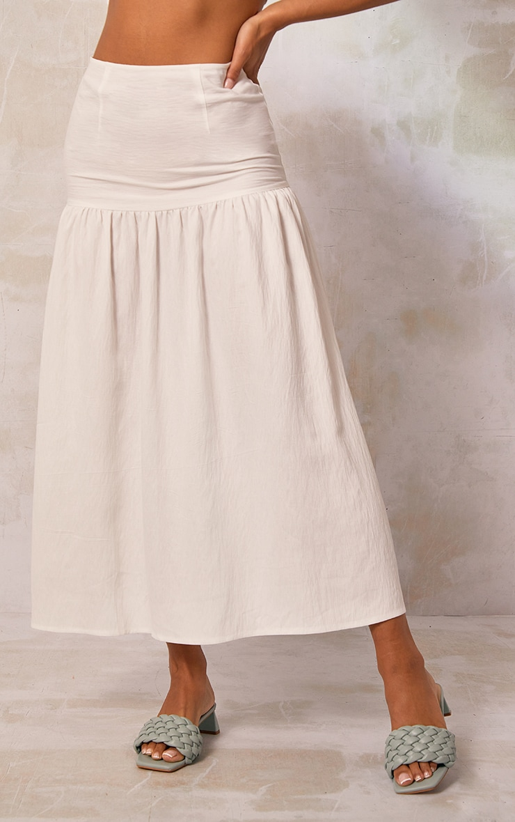 White Woven Tiered Panel Midi Skirt 2