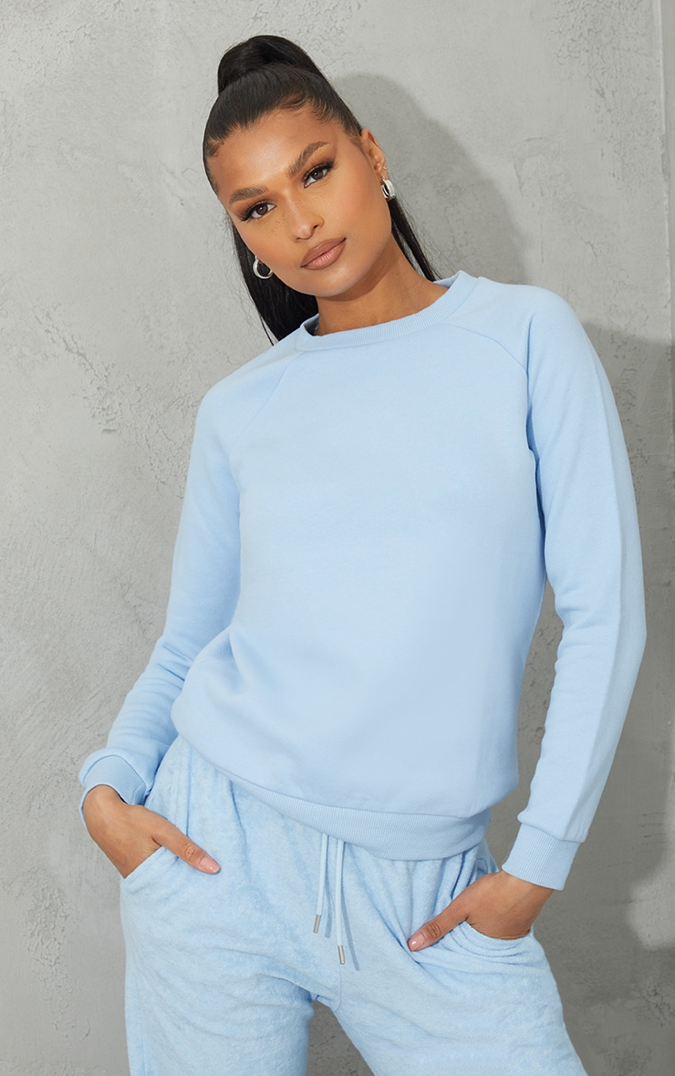 Recycled Pale Blue Basic Slim Sweatshirt 1