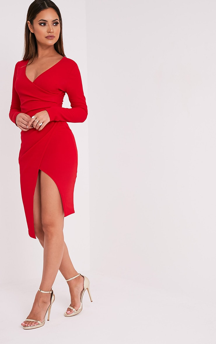 Rosie Red Long Sleeve Wrap Front Midi Dress 3