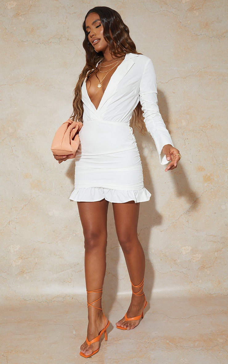 White Oversized Cuff Ruched Sleeve Plunge Shirt Style Bodycon Dress 3