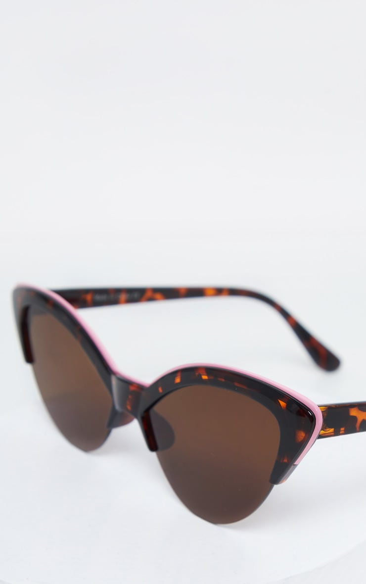 Tortoiseshell Half Frame Pink Brow Bar Extreme Cateye Sunglasses 2