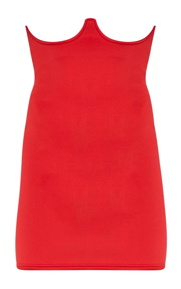 Red Scuba Bustier Mini Skirt  3