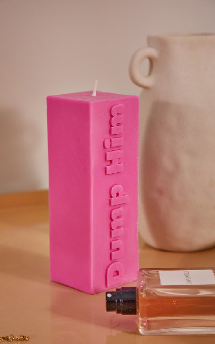 Hot Pink Dump Him Graphic Candle 1