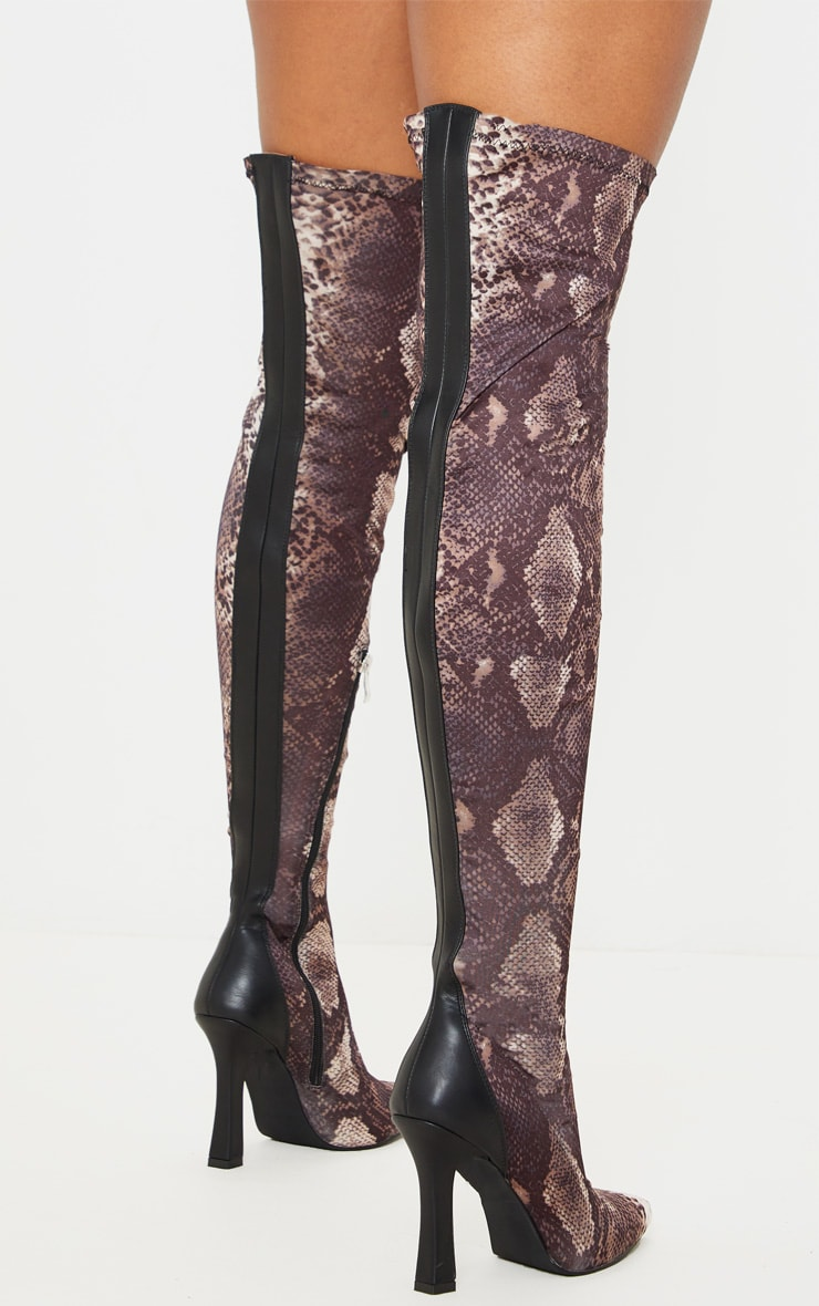 Brown Snake Flare Heel Zip Back Thigh High Boot 2