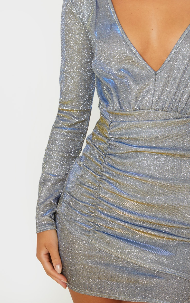 Silver Iridescent Glitter Long Sleeve Ruched Panel Bodycon Dress 5