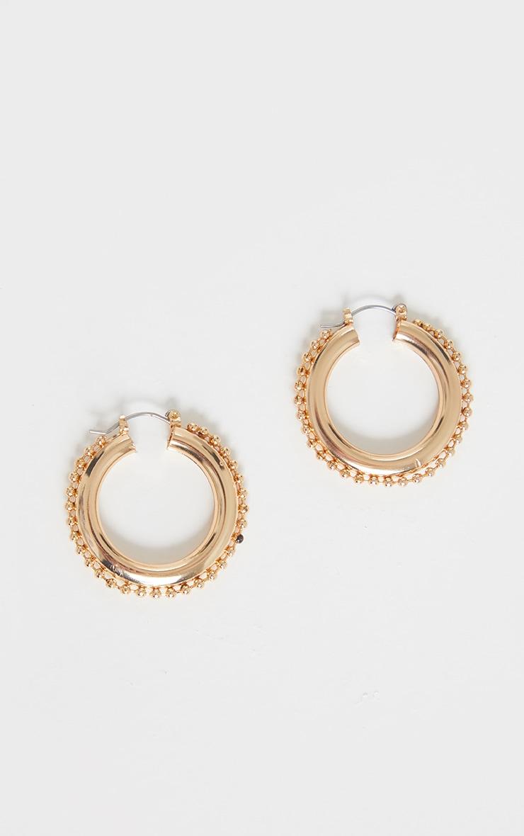 Gold Bobble Detail Small Hoop Earring 3