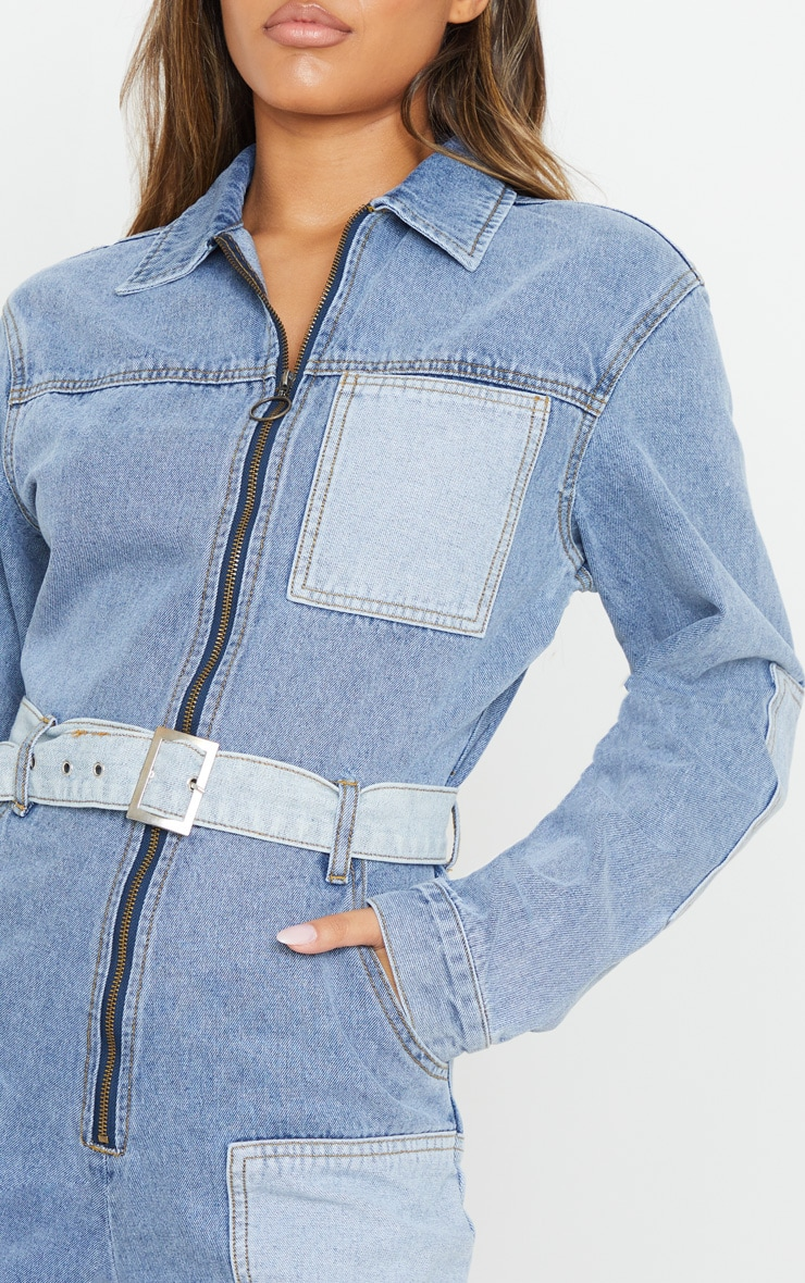 Mid Blue Wash Two Tone Oversized Belted Denim Boilersuit 5