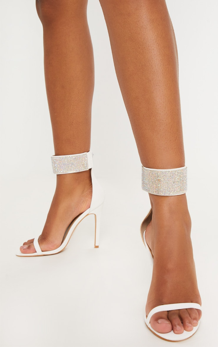 White Diamante Cuff Sandal