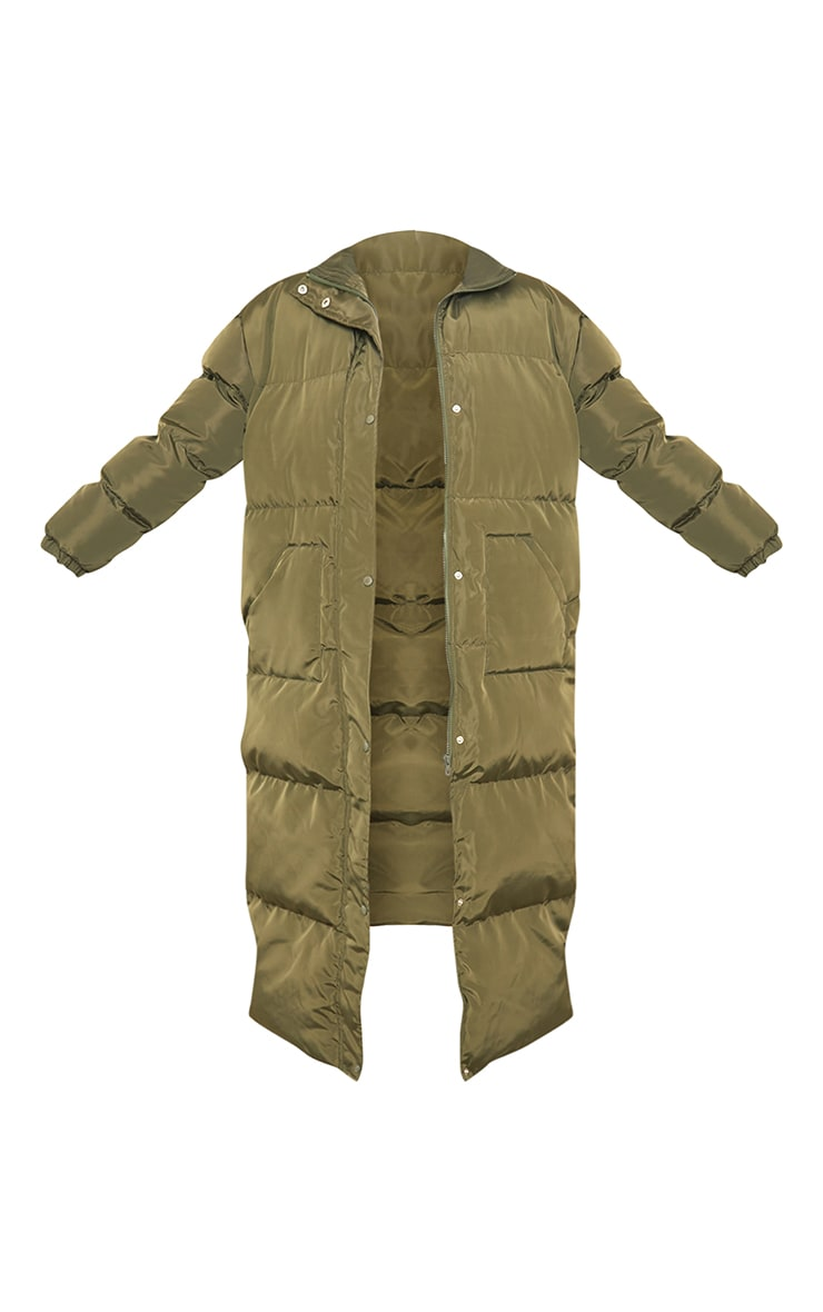 Tall Khaki Maxi Puffer Coat 5