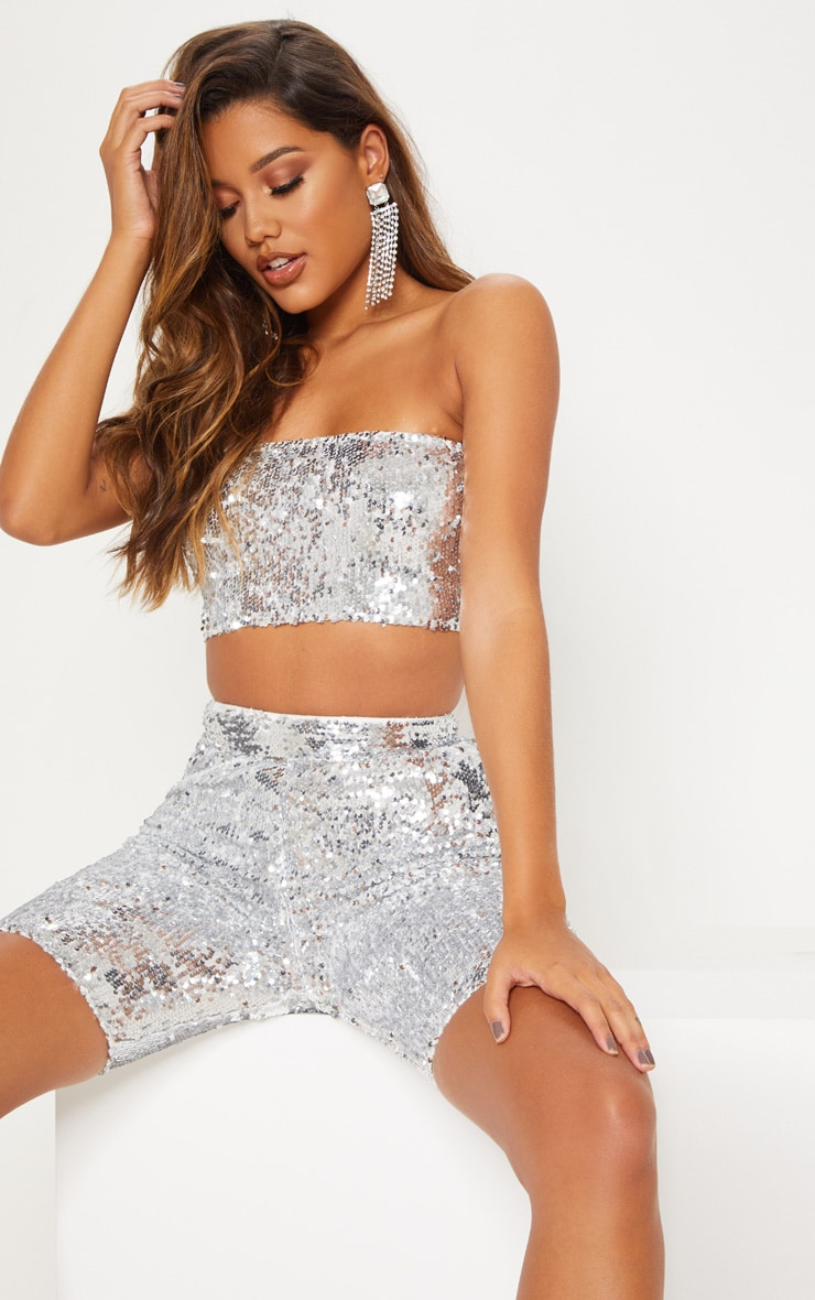 Silver Sequin Bandeau Zip Back Crop Top 2
